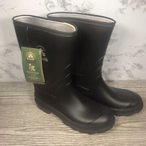 Kamik Rubber Mid-Calf Rubber Rain Boots Black Slip On New with Tags