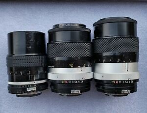 3x Untested Unchecked Nikon Vintage Camera Lens 135mm f/2.8 f/3.5 BL106