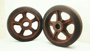 "Vtg antique cast iron 10"" caster wheels industrial factory farm cart dolly"
