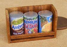 1:12 SCALA 3 assortiti vuote lattine su una mensola in legno Casa delle Bambole Accessorio alimentare SDS1