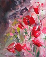 """FLOWERS Original Painting Signed """"Rose Blush"""" 14x11 canvas panel by Steven Graff"""