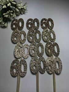 12 ROSE GOLD 60th CELEBRATION Cupcake Pick Toppers 60th Flags 60th Party Picks