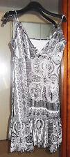 robe d'été lycra /voile noir&blanc décolleté cache-coeur-doublée T.44 Etat neuf