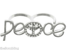 Bohemian Urban Fashion Silver 2 Finger PEACE Ring with Crystal Bling