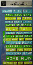 NEW BASEBALL LINGO LABELS Triple Play Batter Up Strike STICKO EMBOSSED STICKERS