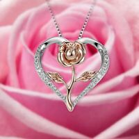 Frauen Two Tone Rose Blume Charme Herz Liebe Anhänger Halskette Schmuck xk