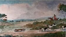 Painting Etching watercolor By Newton Fielding 1810 Hunting scene Horses, Doges