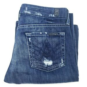 """7 For All Mankind """"A"""" Pocket Distressed Boot cut women's blue jeans size 26"""