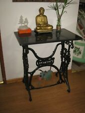 GARDEN CAST IRON TREADLE SEWING MACHINE STAND WITH MARBLE TOP OR  HALL WAY TABLE