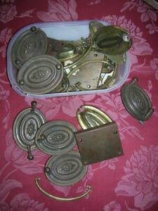 Quantity Antique Brass Drawer Handles Pulls Backing Plates Chest Cupboard