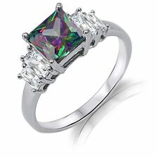 Princess Square Mystic Rainbow Topaz w/ Baguette Genuine Sterling Silver Ring