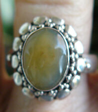 Peruvian Blue Opal Sterling Silver Ring Soft Gold color Gemstone size 10.25