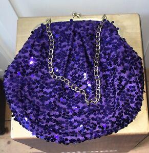 Purple Sequin Shoulder Bag with Kiss lock Closure & Chain Handle