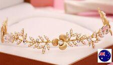 Lady Bride Beach wedding Flower Girl gold leaf Pearl Hair Headband Prop Garland