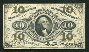 FR. 1255 10 TEN CENTS THIRD ISSUE FRACTIONAL CURRENCY NOTE EXTREMELY FINE (C)