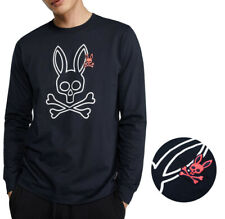 Psycho Bunny Masculino Manga Longa Camisa Parkhouse Graphic Tee camisa Marinha logotipo