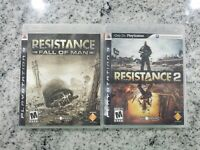 Resistance 1 & 2 Fall of Man Sony PlayStation 3 PS3 Lot Bundle Complete