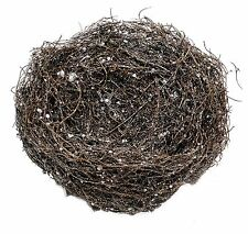 "Mini Grapevine Twig Glittered Bird Nest Home Holiday Christmas Craft 9"" NEW X131"