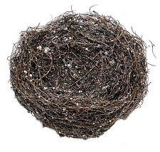 "Mini Grapevine Twig Glittered Bird Nest Home Holiday Christmas Craft 9"" NEW X131"