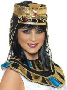 Ladies Fancy Dress Egyptian Asp gold bead Headpiece cleopatra snake design