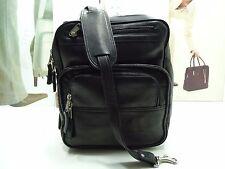 NWT LATICO Shoulder Bag Black Leather W/3Front Zip Pockets Silver Hardware