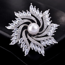 Sunflower Bouquet Brooches Pin Jewelry Vintage Women Silver Rhinestone Crystal