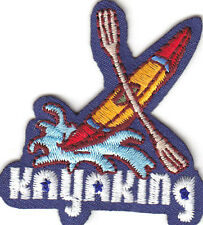 """""""KAYAKING"""" PATCH - WATER SPORTS - OUTDOOR FUN - Iron On Embroidered Applique"""