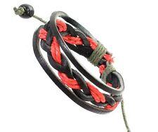Mens Black Leather & Red Cord Surf Wristband Bracelet Adjustable Surf Surfer