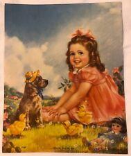 New ListingVtg 40's-50's Calendar Print Little Girl w/ Cocker Spaniel Dog & Toy Doll
