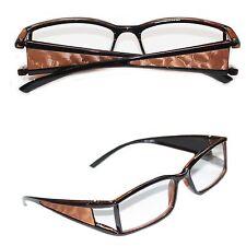 Reading Glasses VAMP Wide Side Metallic Pleather Copper Trim Square Lens +1.50