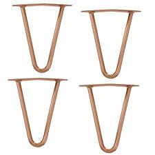 [en.casa]® 4x Hairpin Leg gambe per tavolo metallo DIY 30cm rame ricambio barre