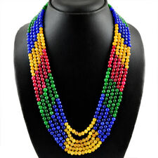 524.50 CTS EARTH MINED 5 LINE RED RUBY, EMERALD & BLUE SAPPHIRE BEADS NECKLACE