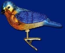 WESTERN BLUEBIRD OLD WORLD CHRISTMAS BLOWN GLASS CLIP ON BIRD ORNAMENT NWT 18043