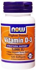 Now Foods Vitamina D-3 5000 UI 120 o 240 cápsulas para los dientes y huesos fuertes