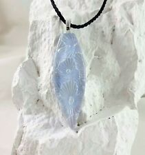 Fused Glass Handmade Crafted Art Dichroic Spike Sunburst Blue Gray Necklace