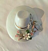 Nuova Capodimonte Savastano Fine Porcelain Hat with Flower Broach