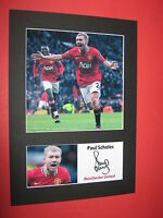 PAUL SCHOLES MANCHESTER UNITED A4 MOUNT SIGNED PRE PRINTED RYAN GIGGS BECKHAM