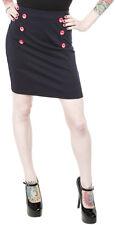 130167 Navy Blue with Red Anchor Buttons Sailor Bop Skirt Sourpuss 50s Medium M