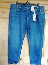M&S Ladies (Indigo) Blue Mid Rise Boyfriend Jeans (with Linen), size 20 Regular