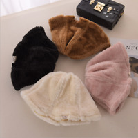 Women Autumn Winter Warm Plush Thicken Bucket Cap Fisherman Hat Foldable