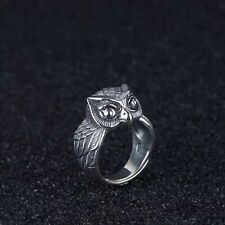 Solid 925 Sterling Silver Mens Heavy Owl Band Ring Open Adjustable Size