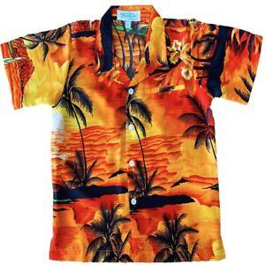 Hawaiian Shirts Boys Sunset Orange