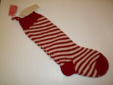 """West Elm Candy Can Knit Red Christmas Holiday Stocking 22"""" #2248"""