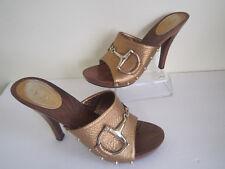 Gucci Gold Leather Open Toe Horsebit Studded Mule Buckle Sandal Heels Sz 9 1/2