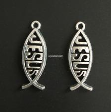 20pc Tibetan Silver JESUS Fish Pendant Charms Beads Jewellery Craft