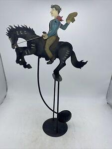 Cowboy Buckeroo On Horse pendulum metal balancing toy sculpture Hand Painted