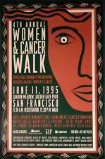 Original 4th ANNUAL WOMEN & CANCER WALK poster June 11 '95 San Francisco Event