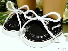 """BLACK Canvas DECK SHOES SNEAKERS fits 18"""" AMERICAN GIRL / BOY DOLL CLOTHES"""