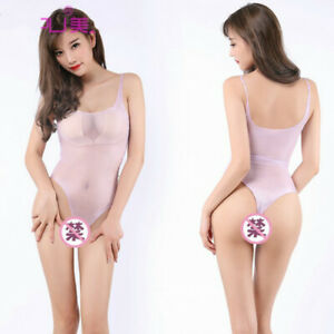 Women's Sheer Mesh Bodysuit Lace Tights Oil Shining Leotard Lingerie See Through