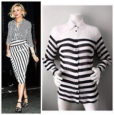 EUC $150 BEBE Black & White Sheer HORIZONTAL STRIPE Silk Blouse Shirt S